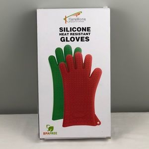 Green Silicone Heat Resistant BBQ Gloves